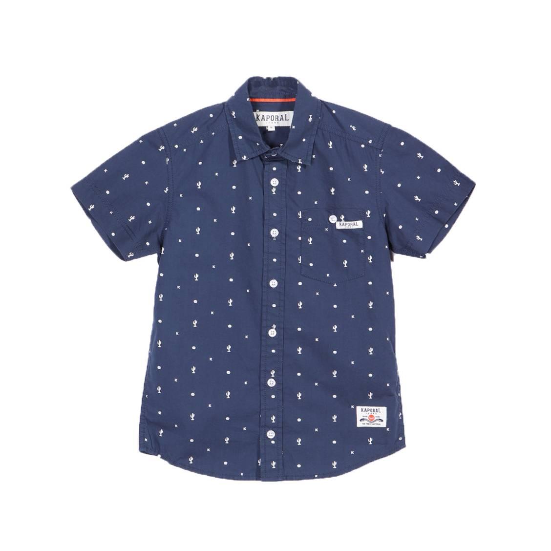 Chemise droite manches courtes  aspen en coton bleu marine à motifs blancs
