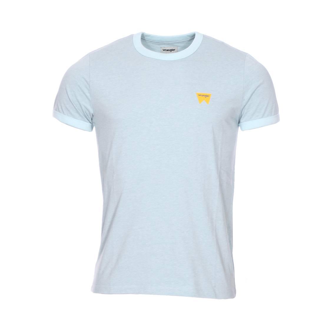 Tee-shirt col rond  sign off en coton mélangé bleu ciel chiné