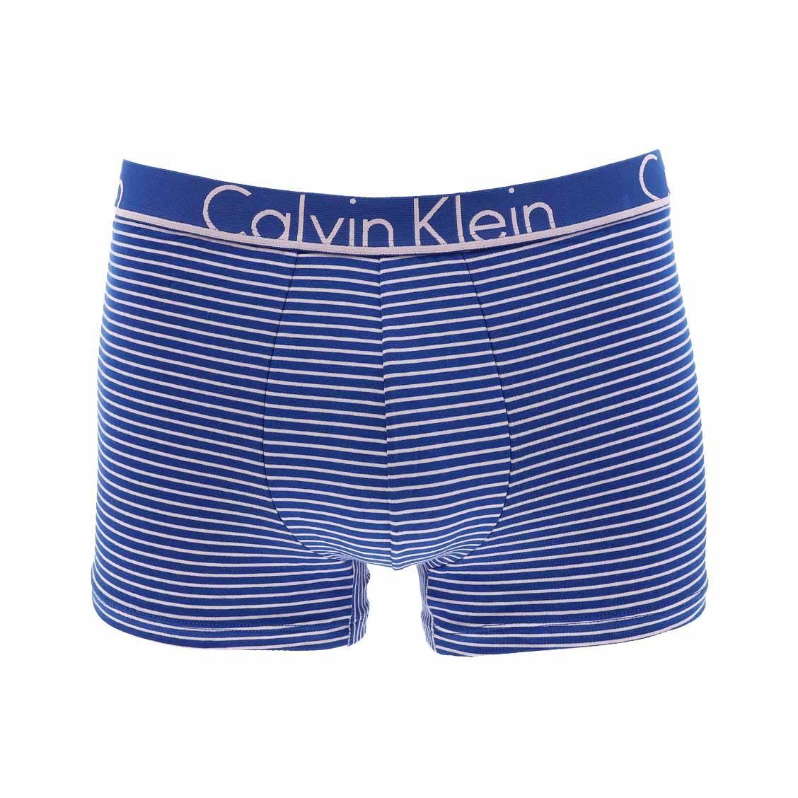 Boxer calvin klein en coton stretch bleu pétrole à rayures rose pâle