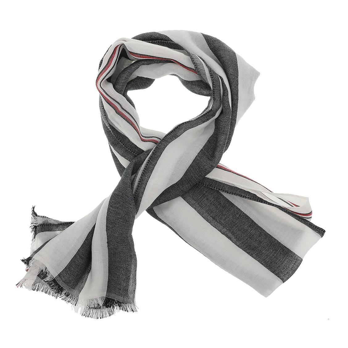 Foulard tommy hilfiger tailored stripes en modal mélangé blanc et gris anthracite rayé