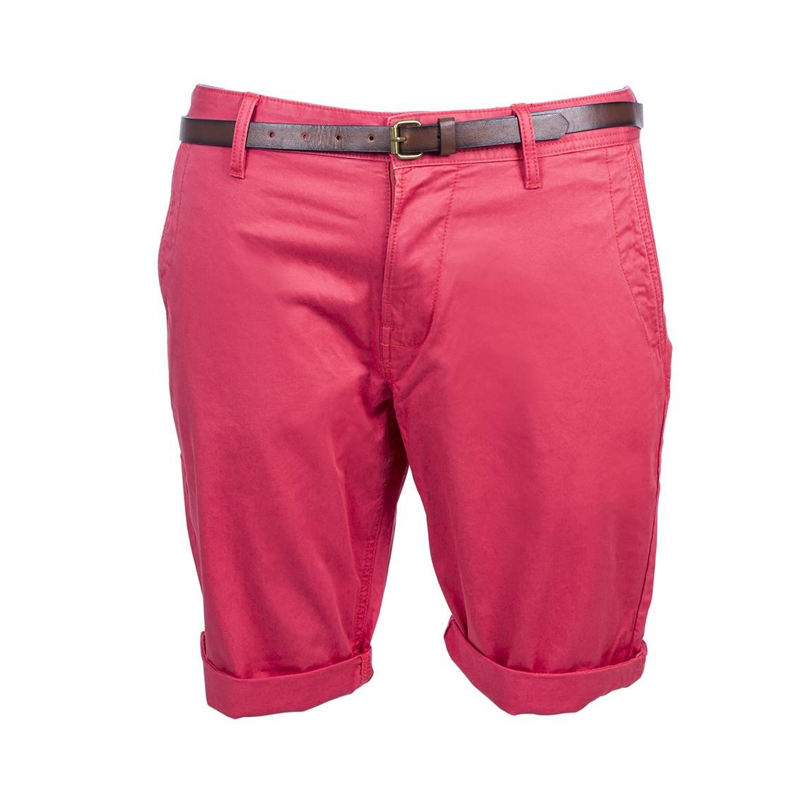Short chino Tom Tailor en coton stretch rouge à ceinture marron