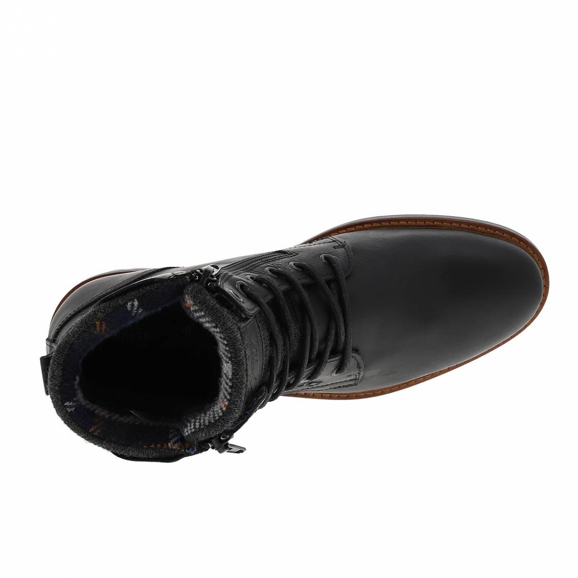 bleu doublure en marineRue en noir Hommes cuir montantes Des Chaussures Bullboxer à laine UpqVSzM