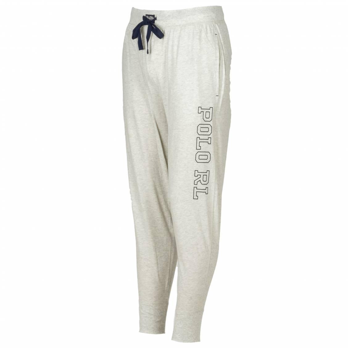 Pantalon d'intérieur Polo Ralph Lauren en coton gris chiné floqué bleu marine | Rue Des Hommes