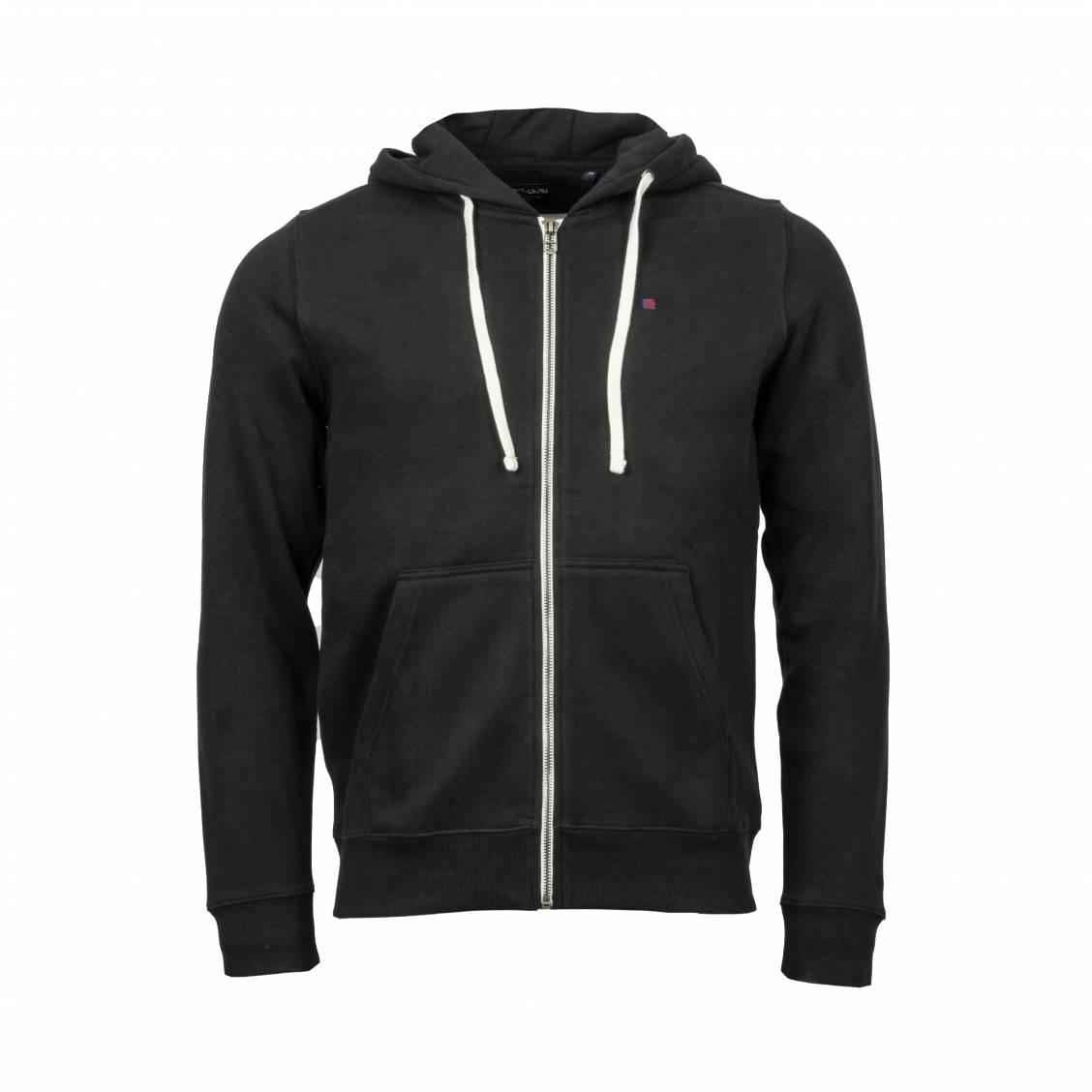 Sweat zippé à capuche Teddy Smith Gelly en coton mélangé noir | Rue Des Hommes
