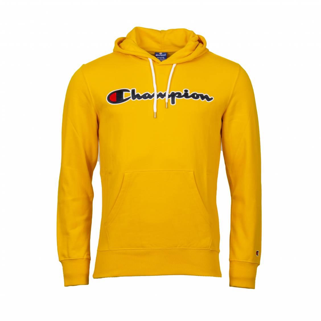 Sweat à capuche Champion en coton jaune brodé | Rue Des Hommes