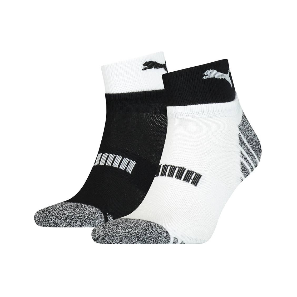 Lot de 2 paires de chaussettes Puma en coton mélangé stretch noir et blanc | Rue Des Hommes