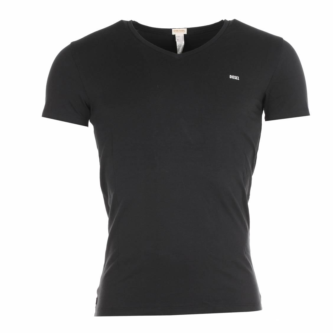 Tee-shirt col V Diesel en coton noir estampillé