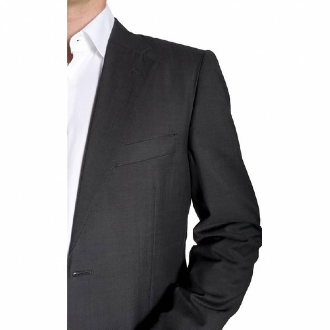Costume semi cintr gris anthracite super 150 39 s rue des hommes - Costume gris fonce ...
