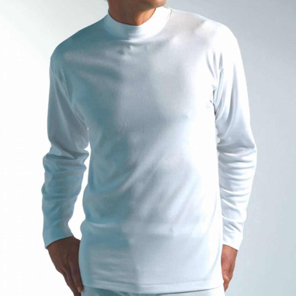 Tee shirt blanc col chemin e manches longues chaleur naturelle rue des hommes - Pull col cheminee pour homme ...
