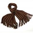 Echarpe en laine à franges à fines rayures mauves et anis
