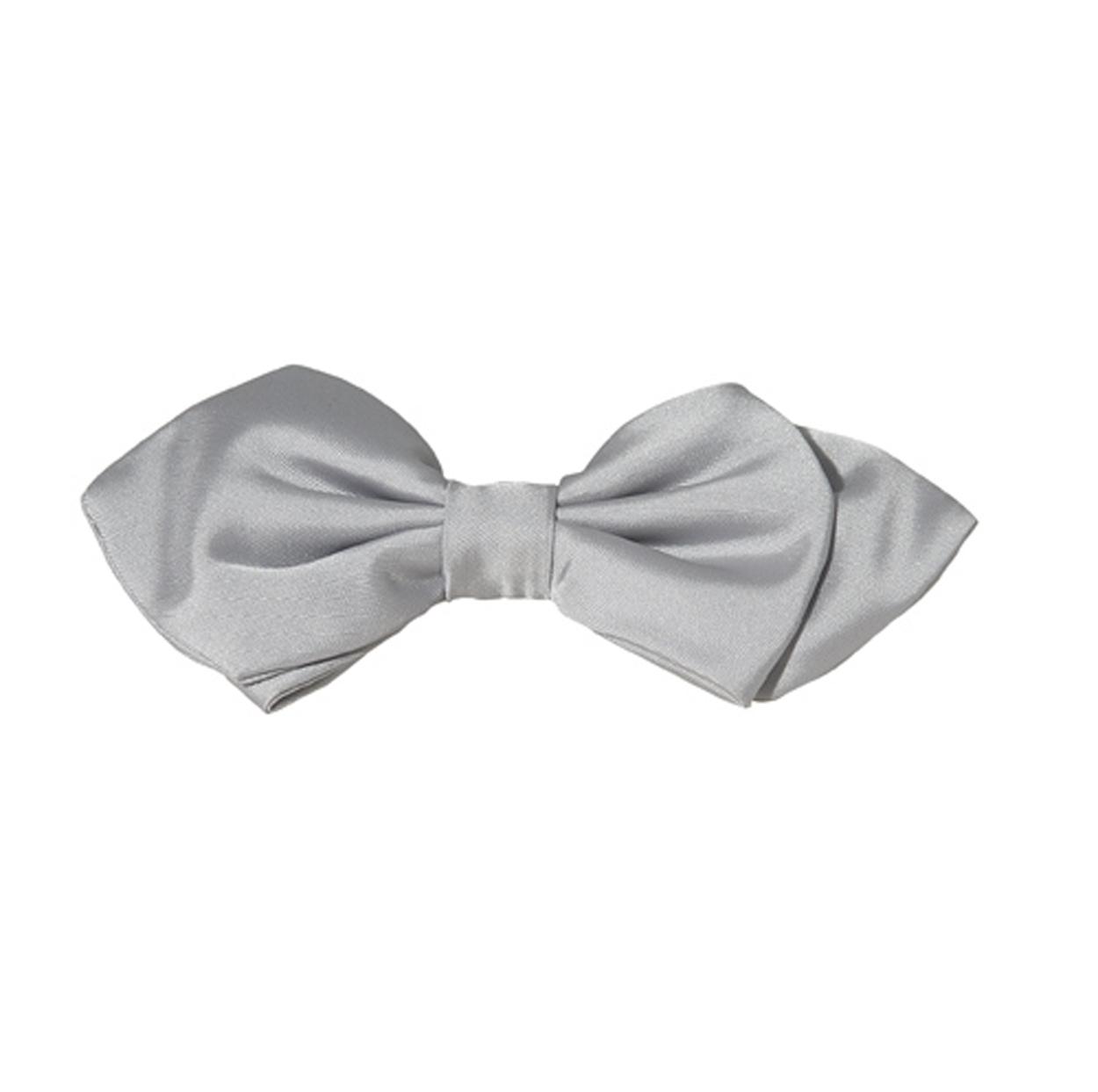 Noeud papillon gris perle à pointes
