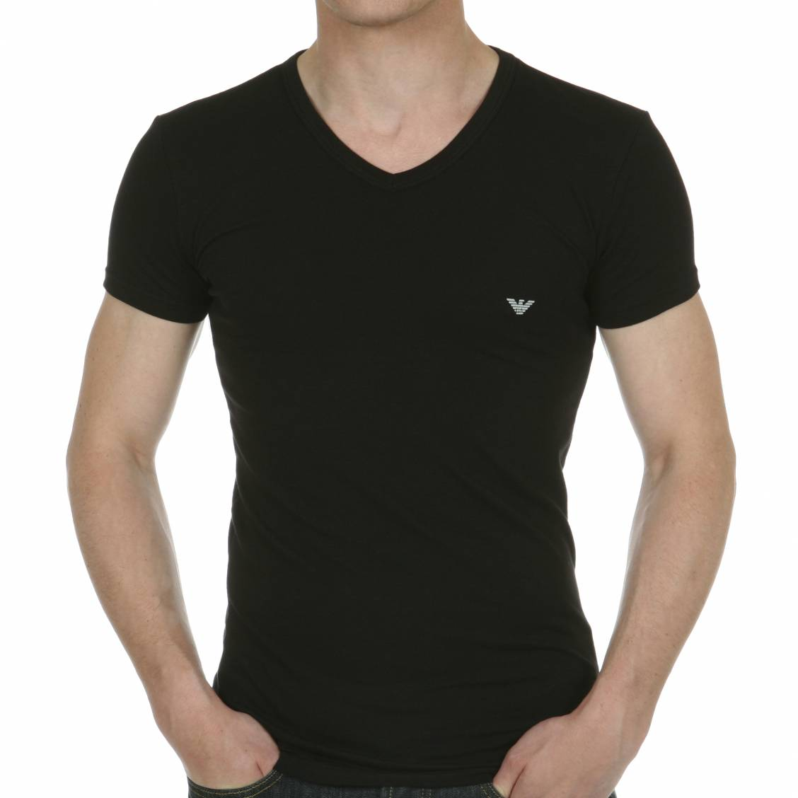 tee shirt col v noir aigle emporio armani en coton stretch rue des hommes. Black Bedroom Furniture Sets. Home Design Ideas