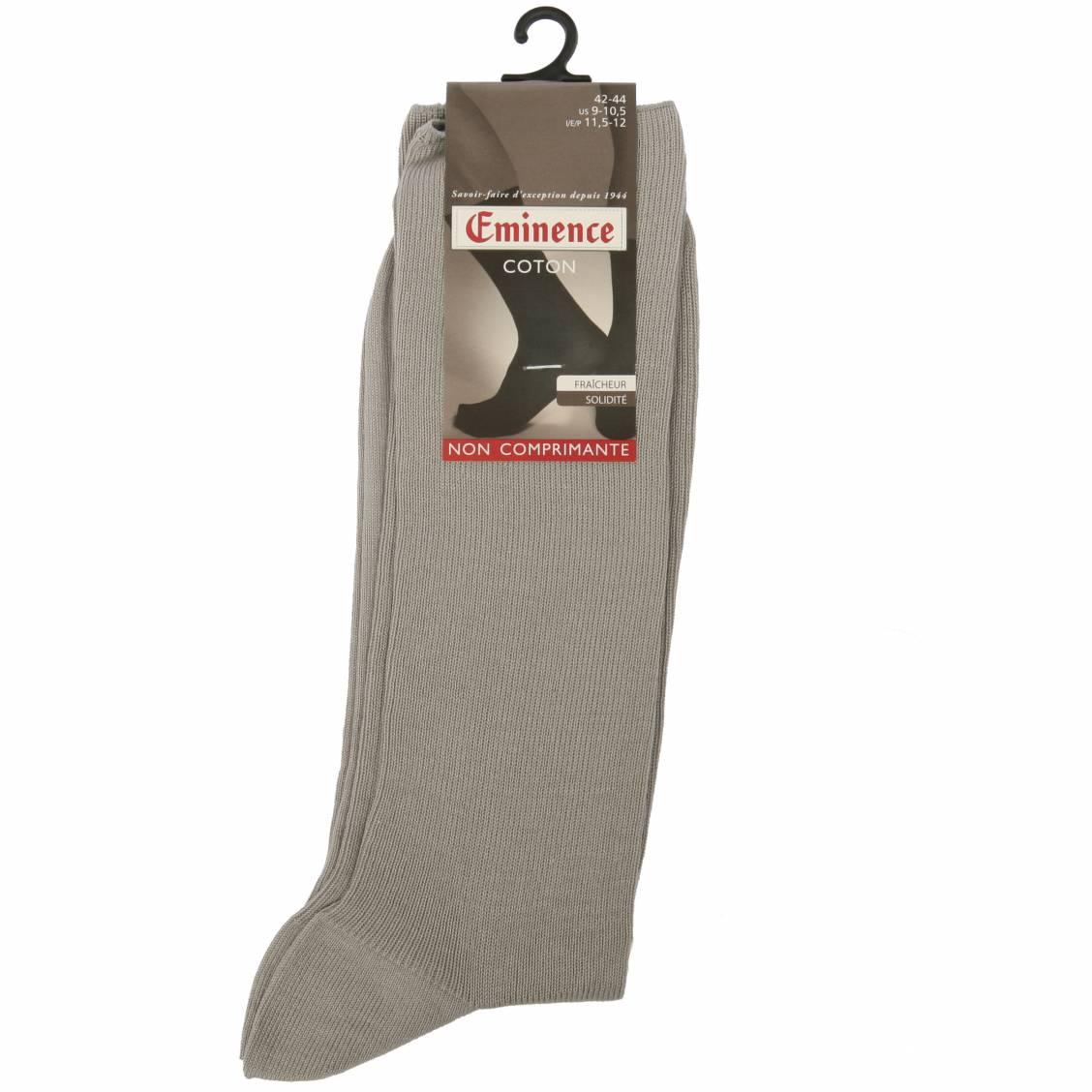 chaussettes eminence côtelées en coton gris