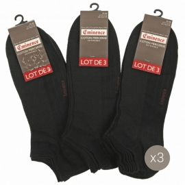 Lot de 3 Socquettes Coton Mercerisé Noires