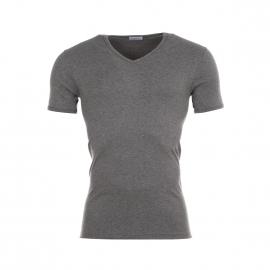 Tee-Shirt gris, col V, en pur coton hypoallergénique