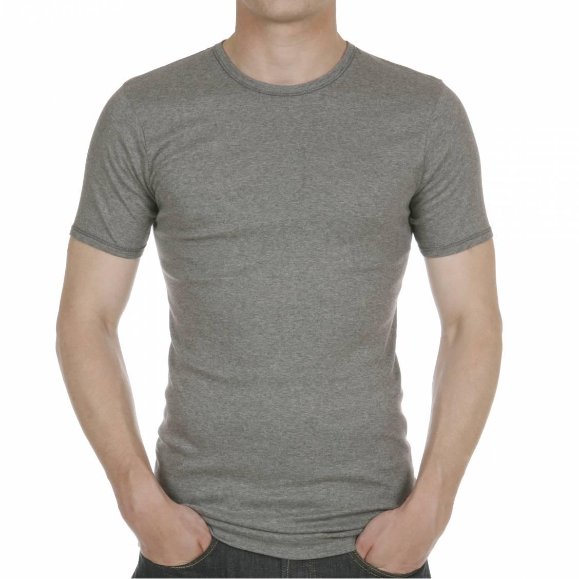 tee shirt gris col rond en pur coton hypoallerg nique rue des hommes. Black Bedroom Furniture Sets. Home Design Ideas