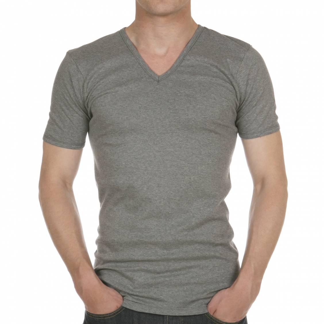 tee shirt gris col v en pur coton hypoallerg nique rue des hommes. Black Bedroom Furniture Sets. Home Design Ideas