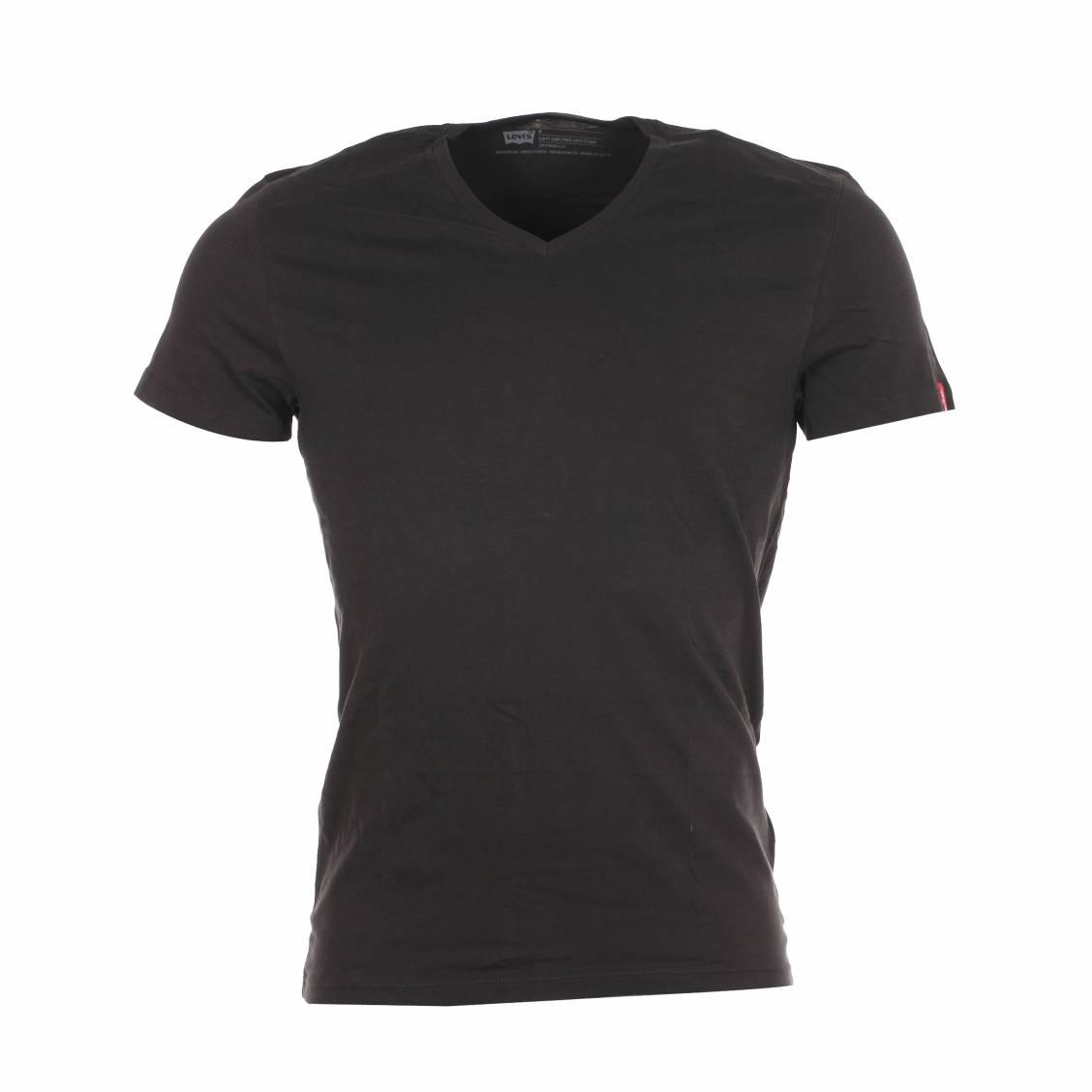 lot de 2 tee shirts noirs levis col v en coton rue des hommes. Black Bedroom Furniture Sets. Home Design Ideas
