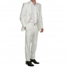 Costume de cérémonie blanc crème semi cintré