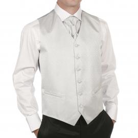 Set de cérémonie: gilet, cravalière et pochette ton gris perle à motifs ton sur ton