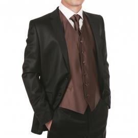 Set de cérémonie: gilet, cravalière et pochette ton marron glacé
