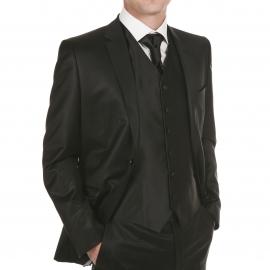 Set de cérémonie: gilet, cravalière et pochette ton noir satiné