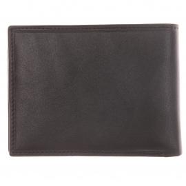 Portefeuille Italien Azzaro en cuir lisse noir avec rabat intérieur