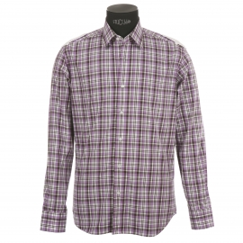 Chemise homme cintrée à carreaux violets et gris à opposition blanche