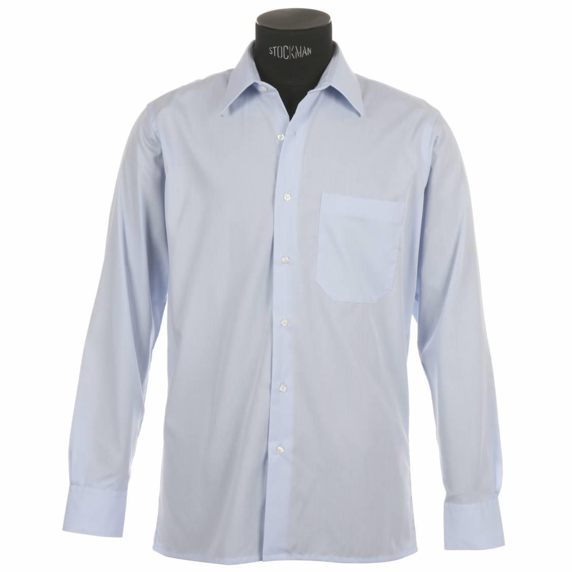 chemise homme en coton bleu ciel une poche repassage facile poignets mixtes rue des hommes. Black Bedroom Furniture Sets. Home Design Ideas