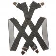 Bretelles grises chinées à rayure placée