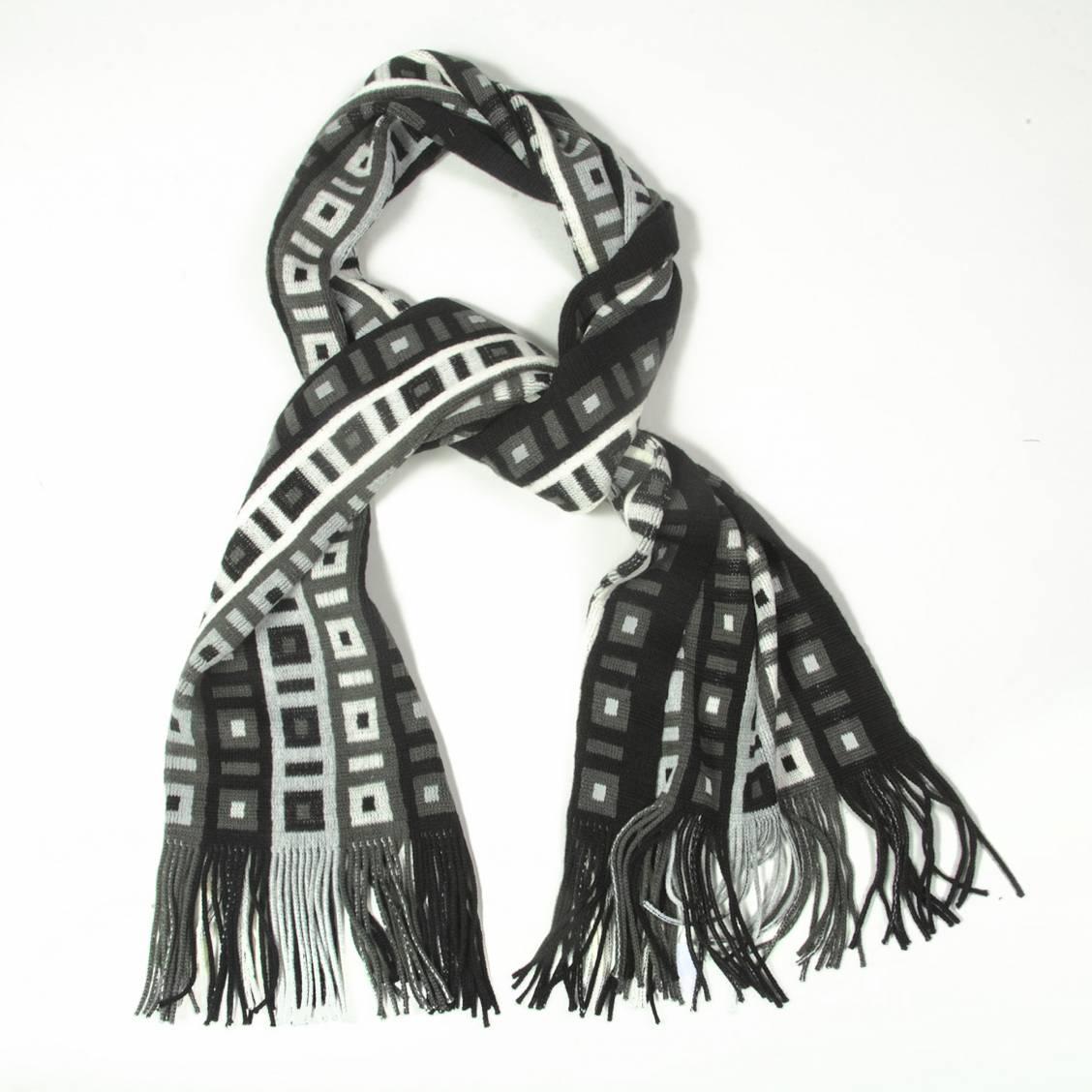 Echarpe à franges à motifs carré noirs, gris et blancs. Marque devêtements et accessoires pour homme, Touche finale a