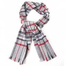 Echarpe à franges, carreaux écossais gris et rouges