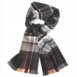 Écharpe à franges : carreaux écossais anthracites et beiges