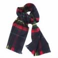 Echarpe à franges : carreaux écossais marines, verts et rouges