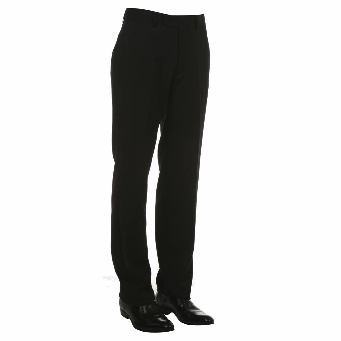 Pantalon de costume noir coupe droite rue des hommes for Pantalon de cuisine noir