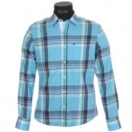 Chemise homme TBS Azur à grands carreaux verts et bleus