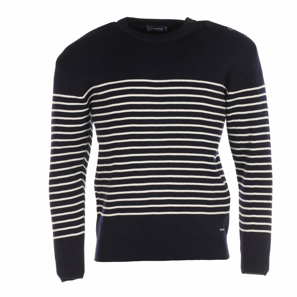 """Souvent Pull Marin """"Dumet"""" Armor lux 100% laine marine à rayures blanches  QW44"""