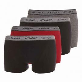 Lot de 4 boxers Athena en coton extensible gris, noir et rouge