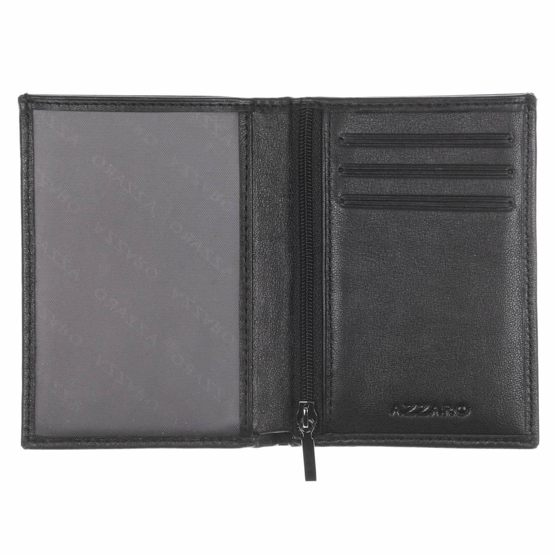 petit portefeuille azzaro en cuir noir