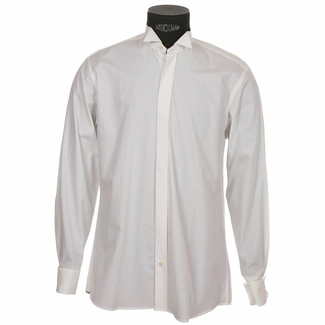 chemise homme pour smoking ivoire col cass et poignets mousquetaires rue des hommes. Black Bedroom Furniture Sets. Home Design Ideas