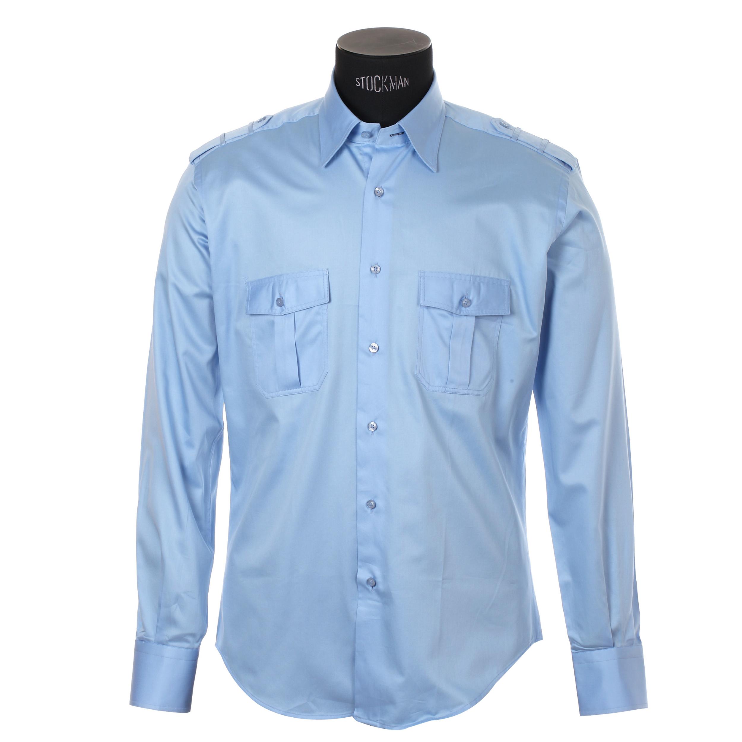 Chemise homme cintrée en coton  bleu ciel satiné