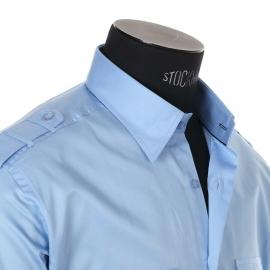 Chemise homme cintrée en coton Gianni Ferrucci Bleu ciel satiné
