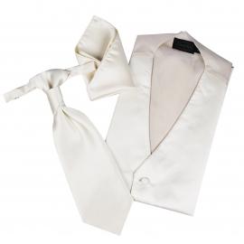 Set de cérémonie: gilet, cravalière et pochette ton crème
