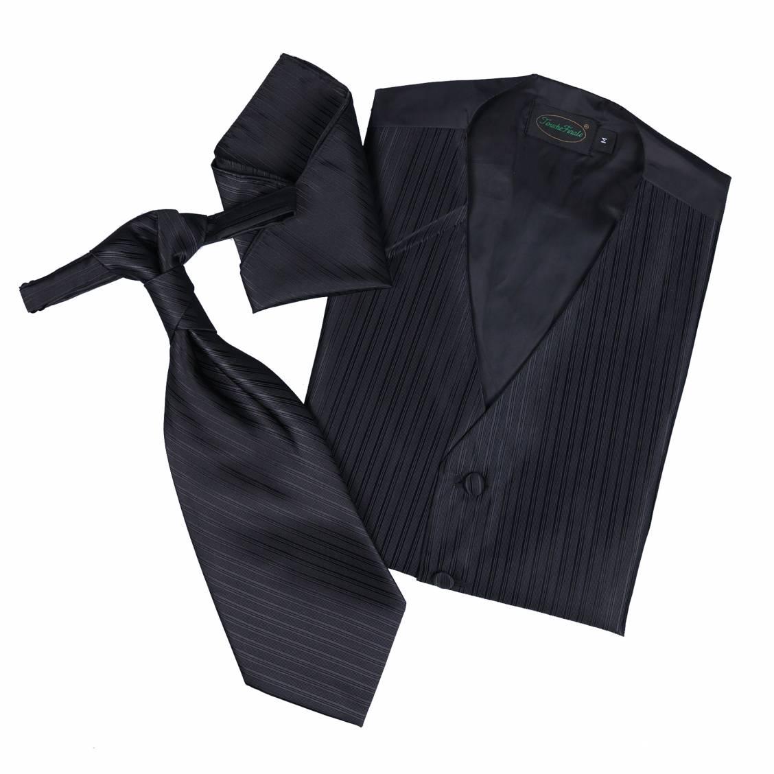 Set de cérémonie: gilet, cravalière et pochette coloris noir à fines rayures ton sur ton. Set de cérémonie c