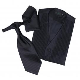 Set de cérémonie: gilet, cravalière et pochette coloris noir à fines rayures ton sur ton