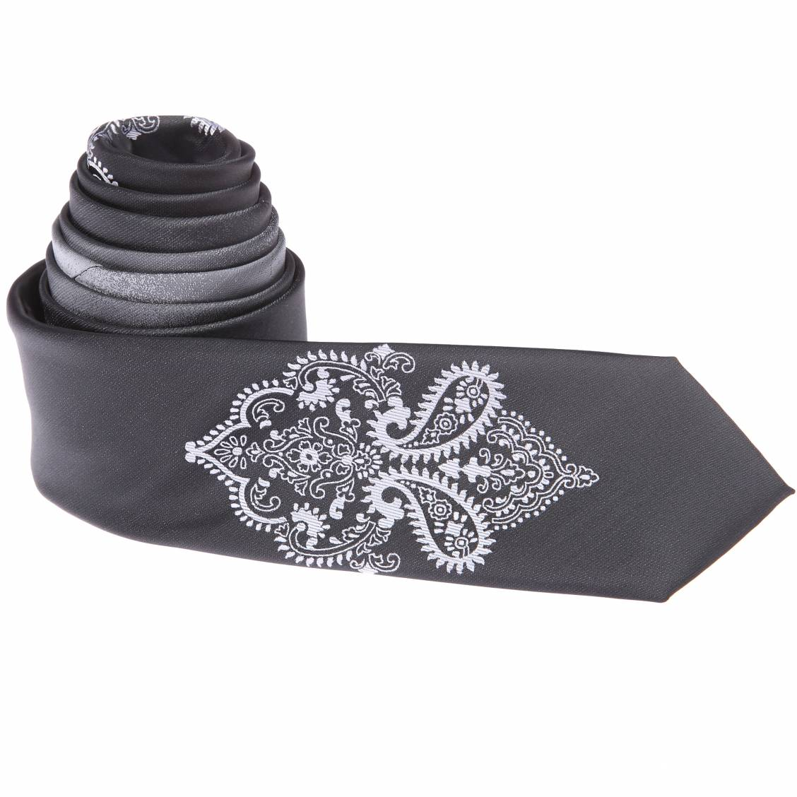 Cravate slim grise à motif argenté