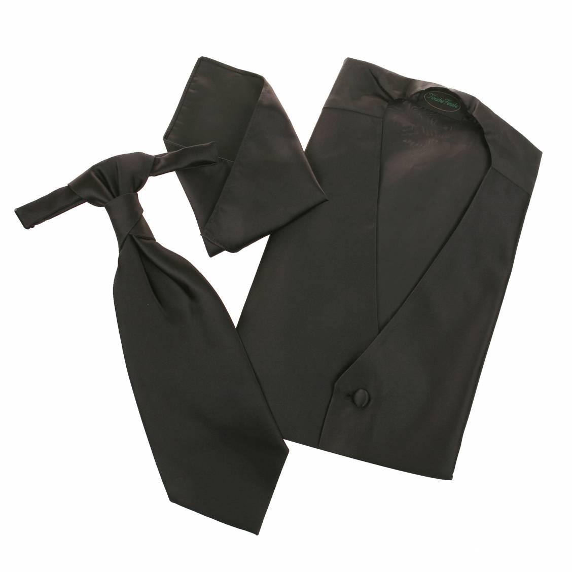 Set de cérémonie: gilet, cravalière et pochette ton noir satiné. Set de cérémonie composé d'un gilet,
