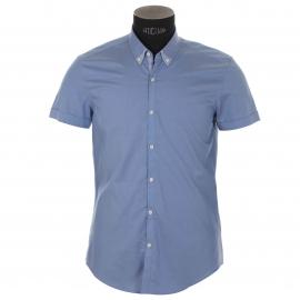 Chemise homme Antony Morato manches courtes, bleue à double col américain