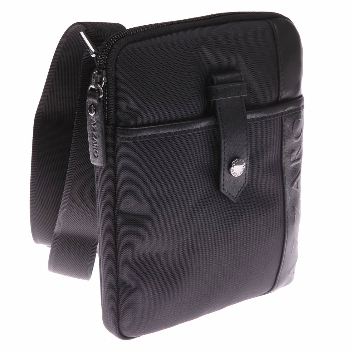 petite sacoche azzaro noire en toile garnie de cuir rue des hommes. Black Bedroom Furniture Sets. Home Design Ideas