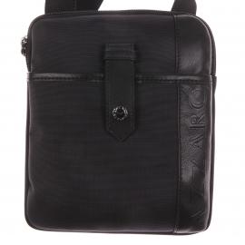 Petite sacoche Azzaro Noire en toile garnie de cuir